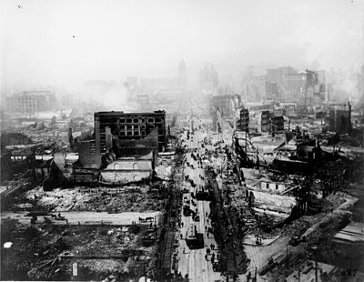 The ruins of San Francisco following the April 18 earthquake and later fires San francisco 1906 earthquake.jpg