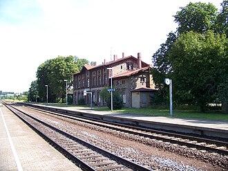 Sandersleben (Anh) station - Entrance building, Halle-Vienenburg side (2009)