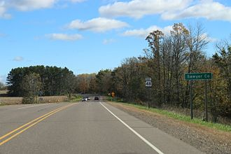 Sawyer County, Wisconsin - The sign for Sawyer County on WIS48