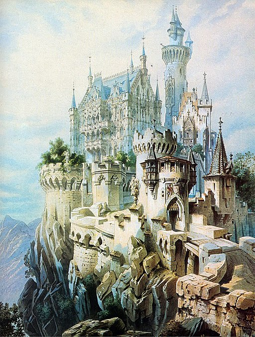 Schloss Falkenstein Planung Gemälde Historismus Ludwig