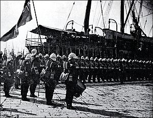 History of the Scots Guards (1805–1913) - 1st Battalion Scots Guards disembarking at Alexandria on 12 August 1882