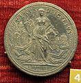 Scuola romana, medaglia di gregorio XIII, 1577, religione tra libri e tiara, argento.JPG