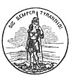 Seal of Virginia, on title page of Redpath's biography of John Brown.jpg