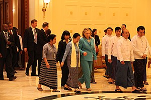 Thein Sein's Cabinet - President, First Lady and Hillary Clinton at Presidential Palace, Naypyidaw