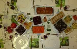 Rosh Hashanah seder - Some of the foods traditionally eaten at a Rosh Hashanah seder