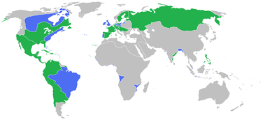 Das europäische Bündnissystem 1756:blau: Großbritannien, Preußen, Portugal und Verbündetegrün: Frankreich, Spanien, Österreich, Russland, Schweden und Verbündete (Quelle: Wikimedia)