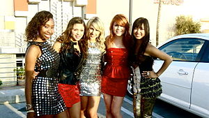 Forever (group) - School Gyrls in 2010. Left to right: Sade Austin, Jacque Pyles, Mandy Rain, Lauren Chavez and Monica Parales.