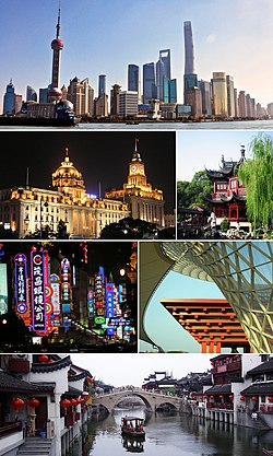 Clockwise from top: Lujiazui skyline with the Huangpu River, Yu Garden, China pavilion at Expo 2010 (now China Art Museum), Qibao, Nanjing Road, and The Bund