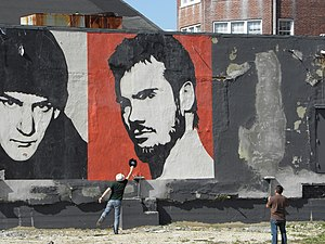 Black Flag (band) - Henry Rollins graffiti in Asbury Park, New Jersey by Shephard Fairey
