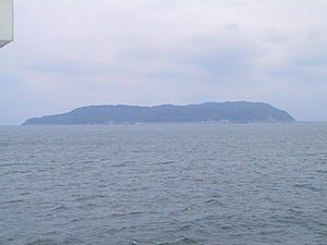 Shika Island - Panorama view of South-West Shika Island from ferry on Hakata Bay