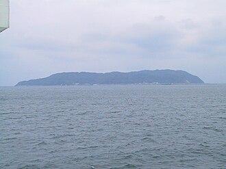 Shika Island - Panorama view of South-West Shika Island from ferry on Hakata Bay
