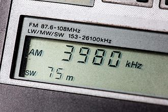 Shortwave radio - Portable shortwave receiver's digital display tuned to the 75 meter band