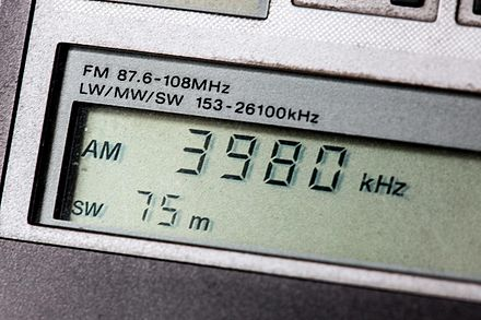 Portable shortwave receiver's digital display tuned to the 75 meter band Shortwave Radio Dial.jpg