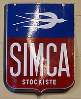 Simca stockiste, Enamel advert sign at the den hartog ford museum pic-010.JPG