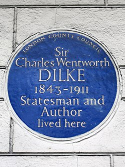 Sir charles wentworth dilke 1843 1911 statesman and author lived here