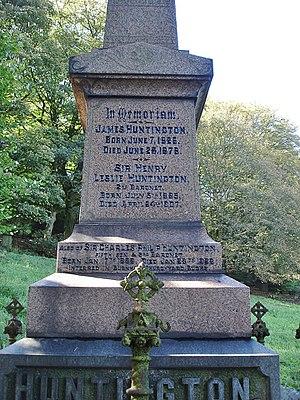 Darwen Cemetery - Image: Sir Henry Huntington, 2nd Baronet Huntington memorial