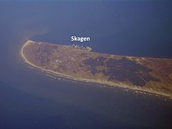 Aerial view of the Skagen Odde peninsula in the far north of Jylland, from the southwest of Skagen