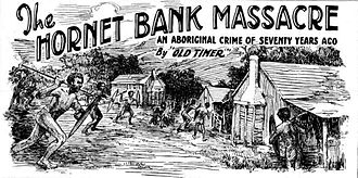 Hornet Bank massacre - 1925 sketch of the attack on the homestead