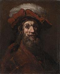Man in plumed beret