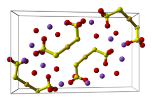 Sodium aurothiosulfate - Image: Sodium gold(I) thiosulfate dihydrate unit cell 3D balls