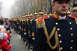 Romanian Land Forces - Soldiers on the Romanian National Day parade on December 1, at the Triumphal arch in Bucharest