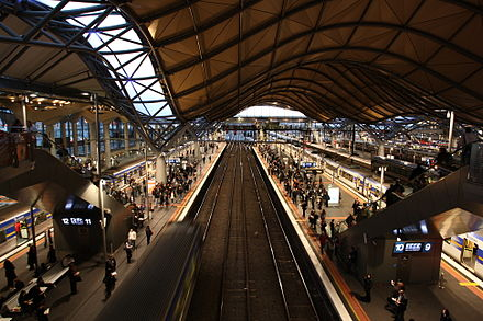 Situated on the City Loop, Southern Cross station is Victoria's main hub for regional and interstate trains. Southern Cross Suburban.JPG