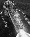 Soviet cruiser Admiral Isachenkov underway aerial port quarter view 1985.jpg