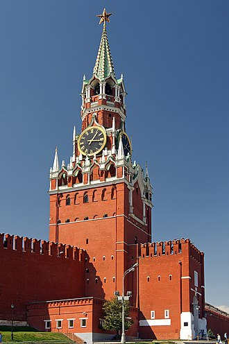 Spasskaya Tower - The Spasskaya Tower gleams in the mid-day sun.