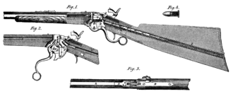 Spencer repeating rifle - Diagram of the Spencer rifle showing the magazine in the butt