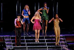 "Wannabe - The group performing ""Wannabe"" at the Air Canada Centre in Toronto, during the Return of the Spice Girls tour"