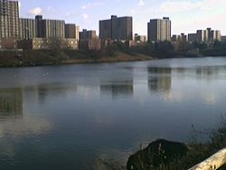 Starrett City, seen across Spring Creek