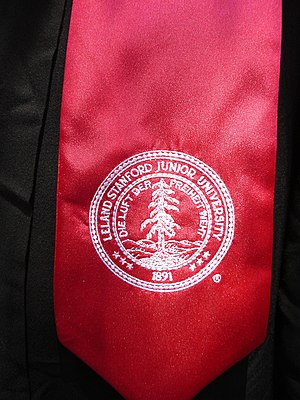 Academic regalia of Stanford University - Detail of the Stanford University seal on the bachelor's stole.