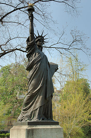 Replicas of the Statue of Liberty - The Exposition Universelle model in its previous location in the Jardin du Luxembourg, Paris