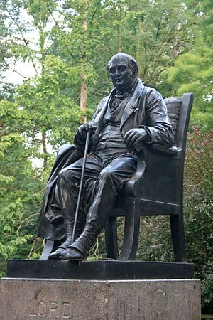 Henry Vassall-Fox, 3rd Baron Holland - Lord Holland's statue rises from a pond in Holland Park, London.