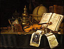 Still life with jewels violin globe and book.jpg