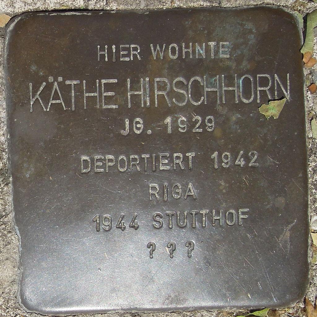Stolperstein Gelsenkirchen Bismarkstraße 152 Käthe Hirschhorn.JPG