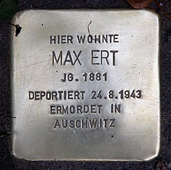Photo of Max Ert brass plaque
