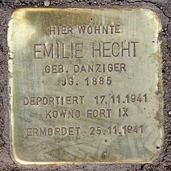 Photo of Emilie Hecht brass plaque