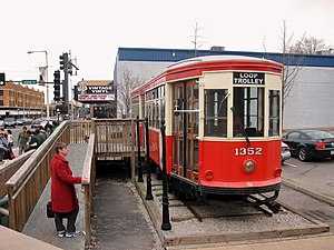 Delmar Loop - A streetcar on display in the Loop