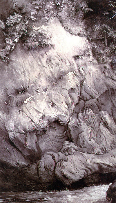 John Ruskin's Study of Gneiss Rock, Glenfinlas, 1853. Pen and ink and wash with Chinese ink on paper, Ashmolean Museum, Oxford, England. Study of Gneiss Rock.jpg