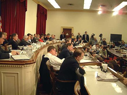 This subcommittee on Oversight and Investigations works under the direction of the Energy and Commerce committees of the House, and met in January 2002. Sub-Committee on Energy and Commerce 012402.jpg