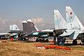 Suhkoi Su-30, Su-34 & Su-35 at Zhukovsky 2012 (8583672798).jpg