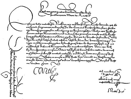 Summons for Luther to appear at the Diet of Worms, signed by Charles V. The text on the left was on the reverse side. Summons for Luther to appear at the Diet of Worms.jpg