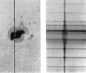 Zeeman effect - Zeeman effect on a sunspot spectral line