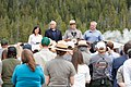 Superintendent Cam Sholly speaking to a group at Old Faithful (48080896856).jpg