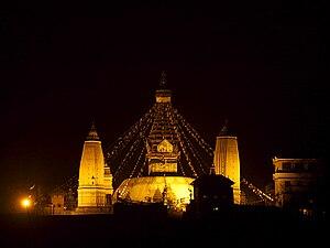 Swayambhunath at night, Kathmandu, Nepal
