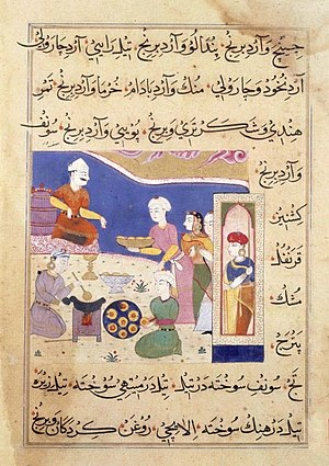 Samosa - Manuscript (c. 16th century) showing samosas being served