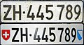 Switzerland Zürich front and rear license plate.jpg