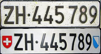 Vehicle registration plates of Switzerland - Car number plate of the Canton of Zurich (ZH) (front and rear plate)