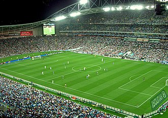Exhibition game - Sydney FC playing a friendly match against the Los Angeles Galaxy at ANZ Stadium in 2007.